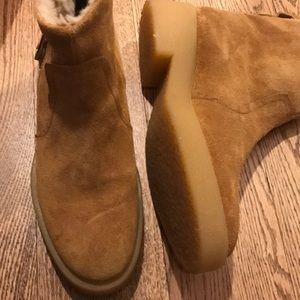 Zara booties with fleece lining flats boots